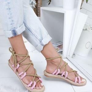Shoes - Women's 7.5 Rope Lace Up Boho Roman Sandals